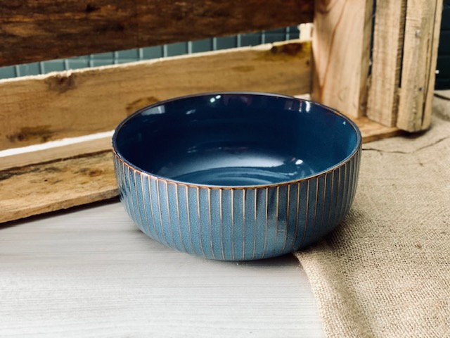 Bowl ensaladera petróleo rayas