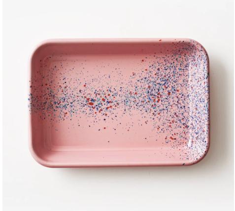 Fuente rectangular L enlozado rosado