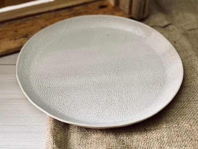 Plato fuente horno texturizado blanco