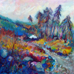 'Loch and Forest, Abriachan' Anna Malyon Mixed Media 60x60cm *SOLD*