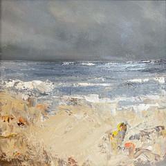 'Coastal Series Morning at Sandend Beach'  Gundra Nock  Oil on canvas  45.5 x 45.5cm £415