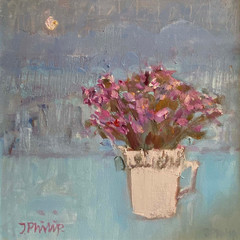 'Heather by Moonlight' Jackie Philip  Oil on canvas  46 x 46cm £1450