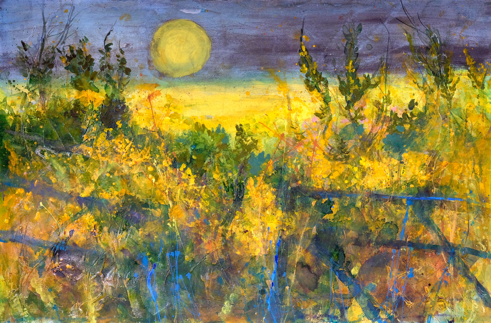 'Moonlight, Gorse and Old Farm Gates' Ann Oram RSW Mixed Media  97x65cm  £3000
