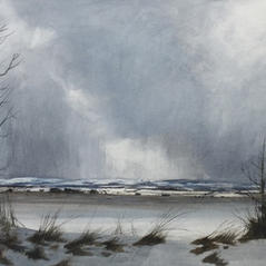 'Winter Tree-line, The Mearns' David E Johnstone RSW Watercolour 71 x 25cm