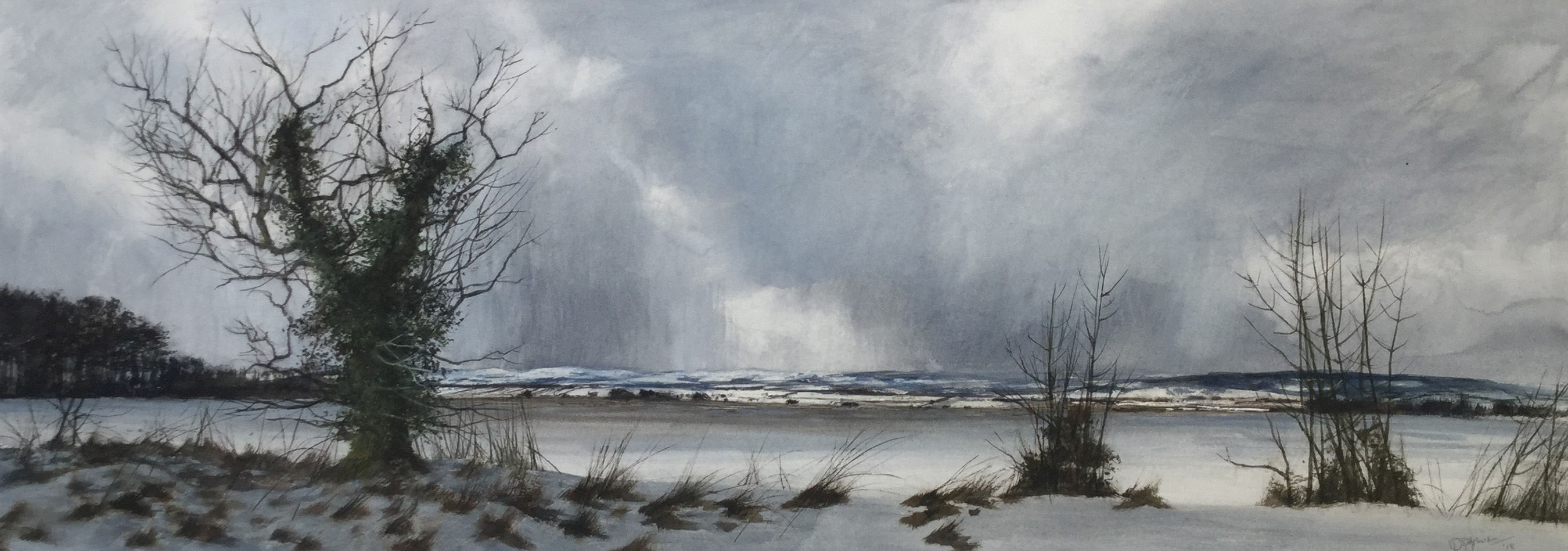 'Winter Treeline, The Mearns' David E Johnstone RSW Watercolour 71x25cm £1100