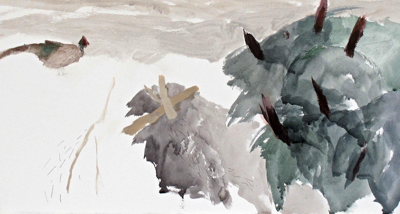 'Pheasant and trillium' Ian Kinnear RSW Acrylic on Paper 61x89cm £750