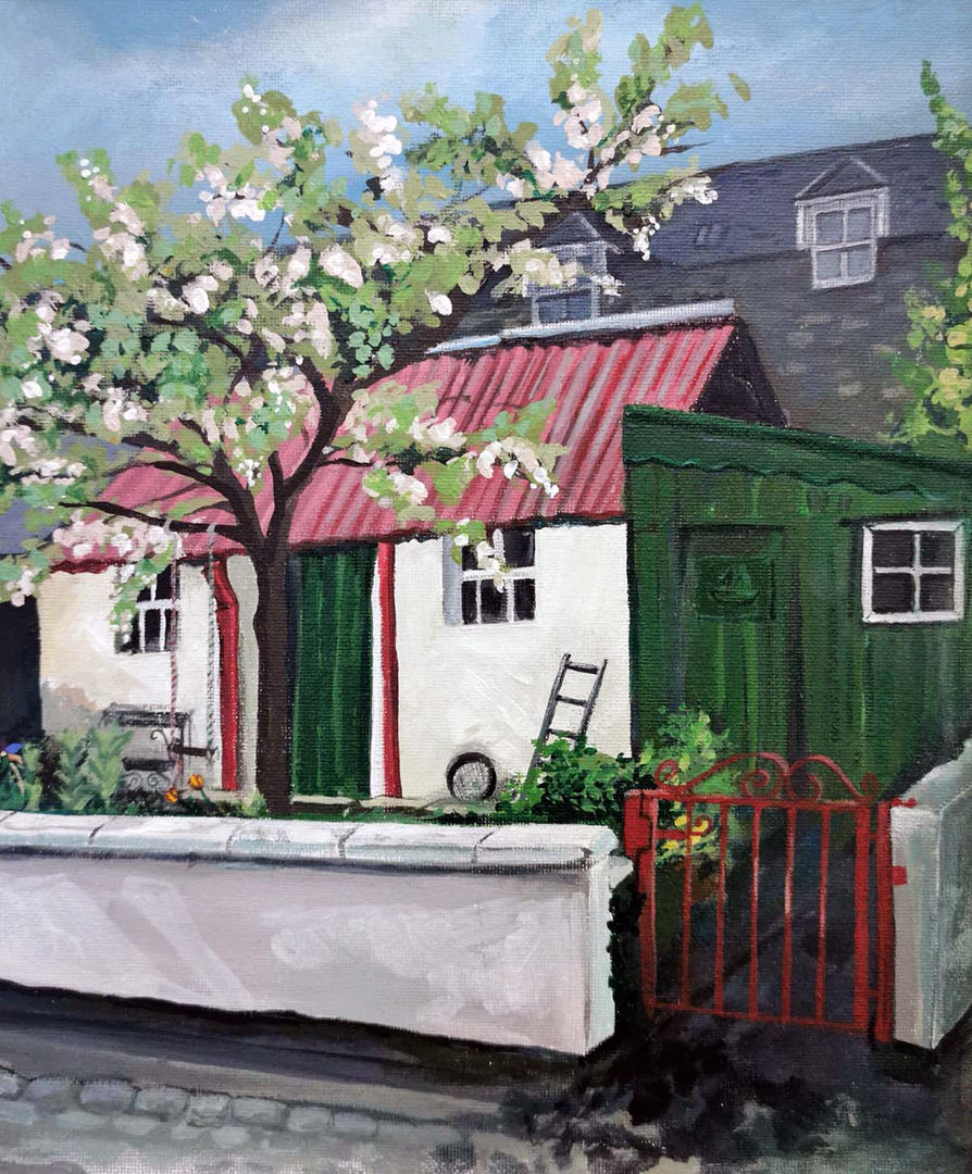 'Red Roof, Fittie' Shelagh Swanson   Acrylic on Board  25x30cm  £500