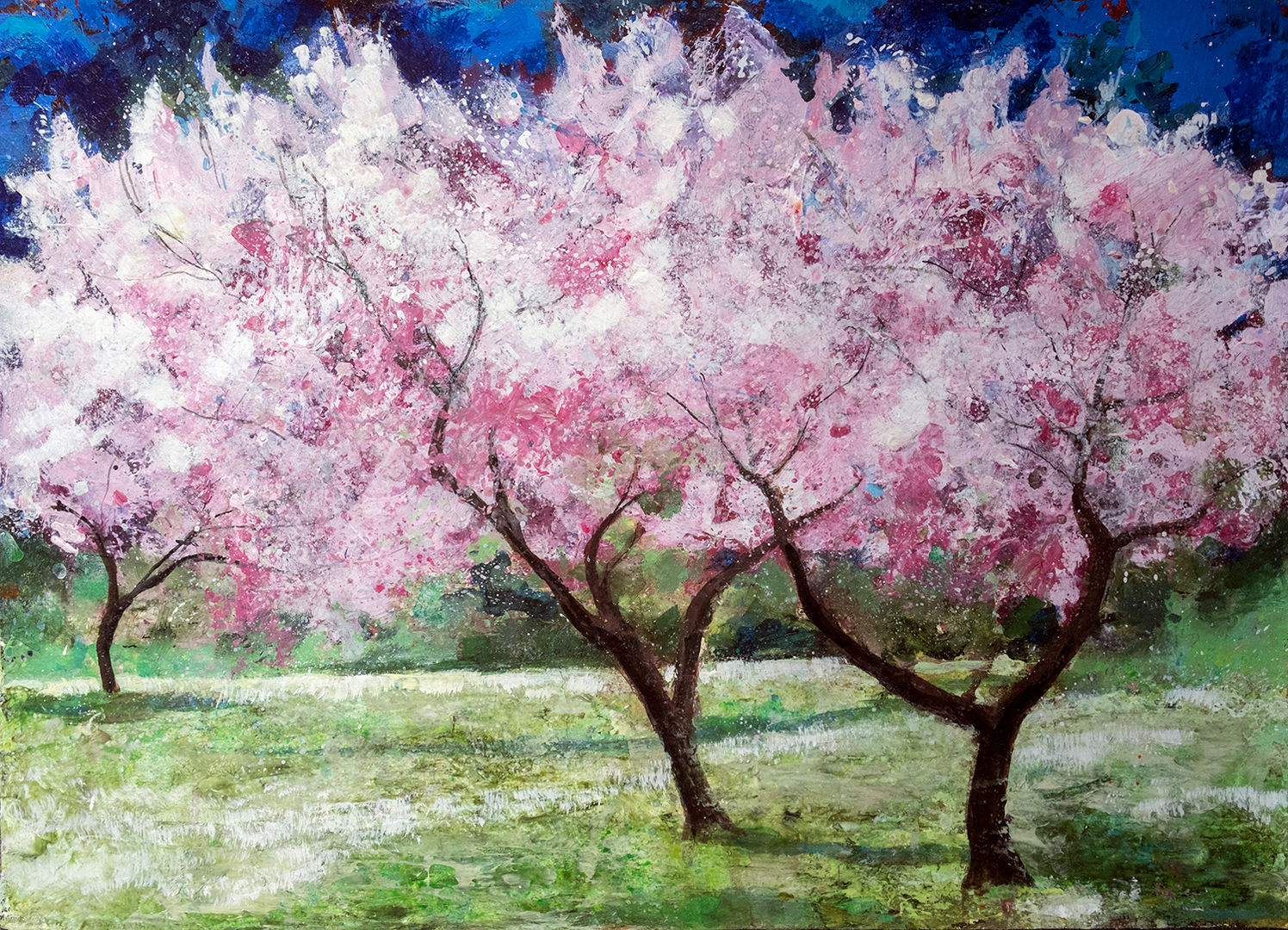 'Blossom Trees in the Meadow' Ann Oram RSW Acrylic on Board  68x48cm  £2900