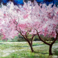 'Blossom Trees in the Meadow' Ann Oram RSW Acrylic on Board  68x48cm  £2900