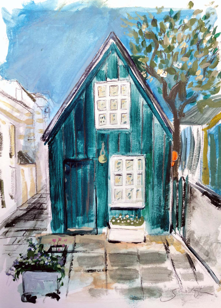 'The Painter's Shed'  Shelagh Swanson Mixed Media 20x30cm  £300