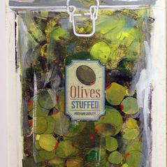 'Olives' John Hall   Mixed Media 18 x 34cm  *SOLD*
