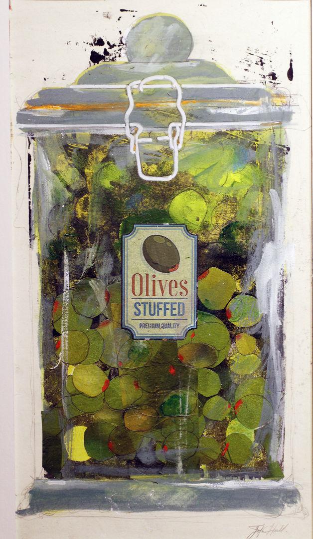 'Olives' John Hall Mixed Media 18x34cm  £380