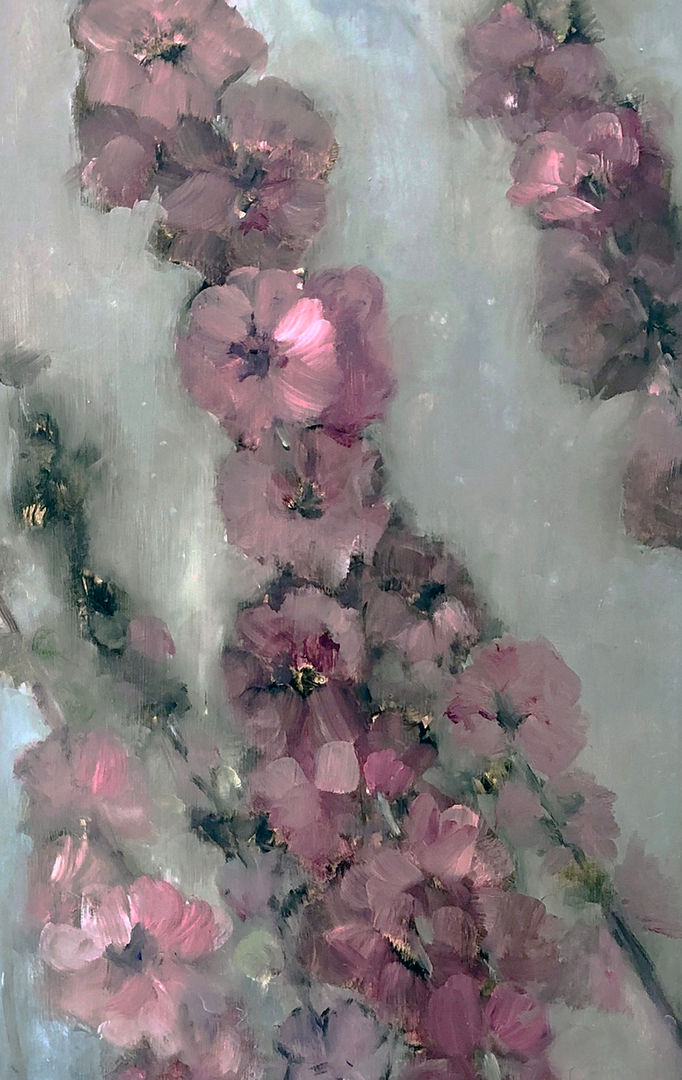 'Hollyhocks' Lorraine Taylor Oil on canvas
