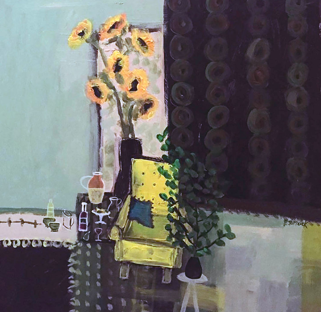 'Yellow Chair and Sunflowers' Fiona Sturrock Acrylic on Canvas 40x40cm £350