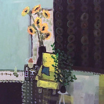 'Yellow Chair and Sunflowers' Fiona Sturrock Acrylic on Canvas 40x40cm £650