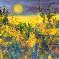 'Moonlight, Gorse and Old Farm Gates' Ann Oram RSW Acrylic on paper 97 x 65cm