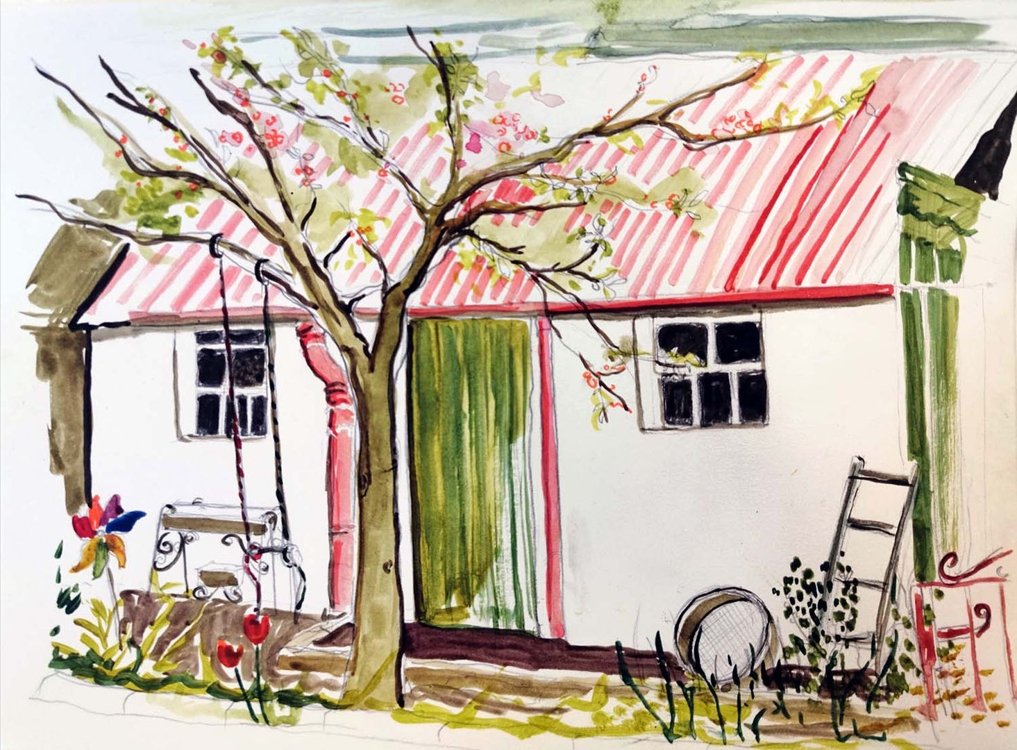 'Red Roof Fittie' Shelagh Swanson   Watercolour Sketch  30x20cm  £300