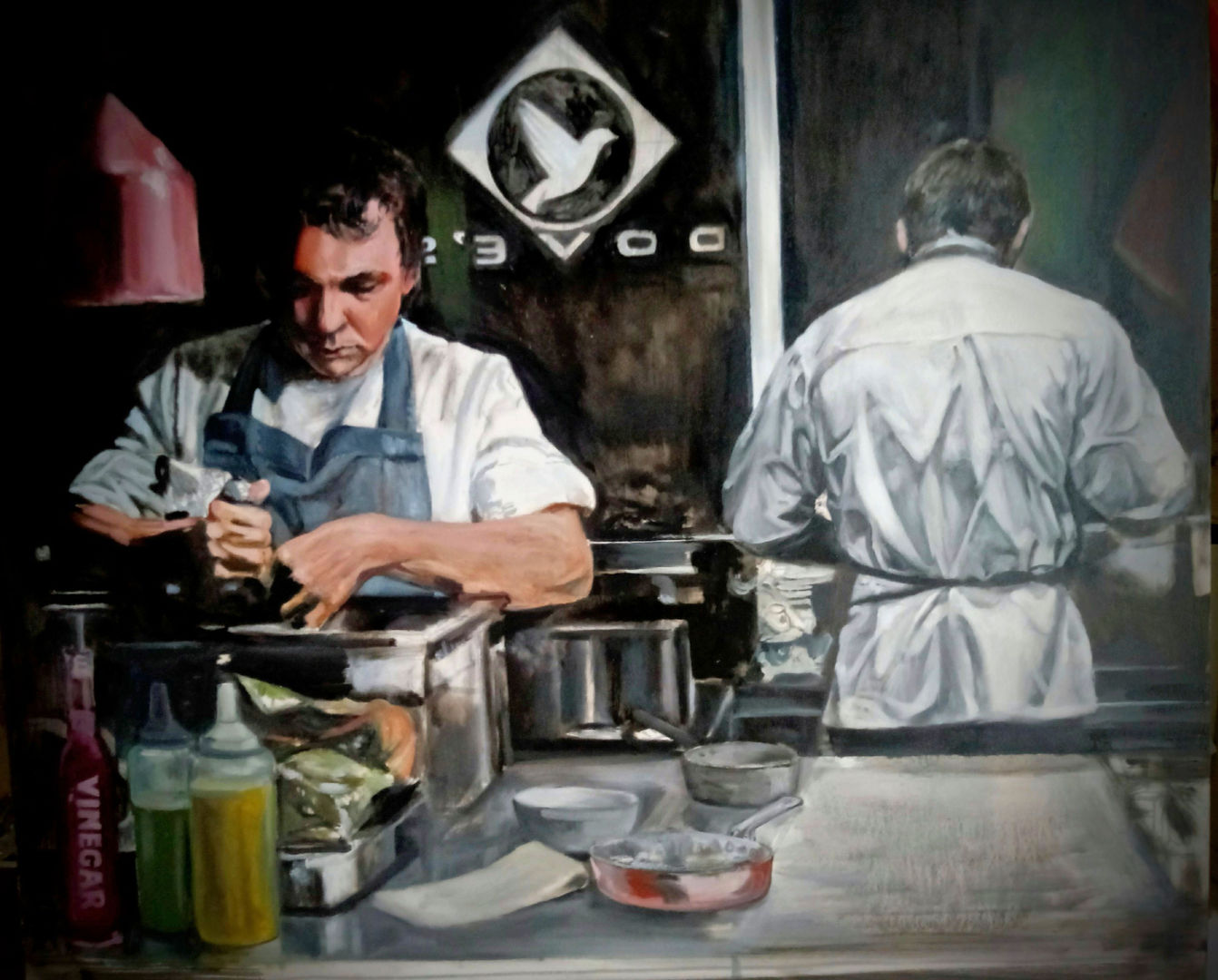 'The Art of Good Cheffing' Drysdale Scott Oil on Panel  60x55cm  £1850