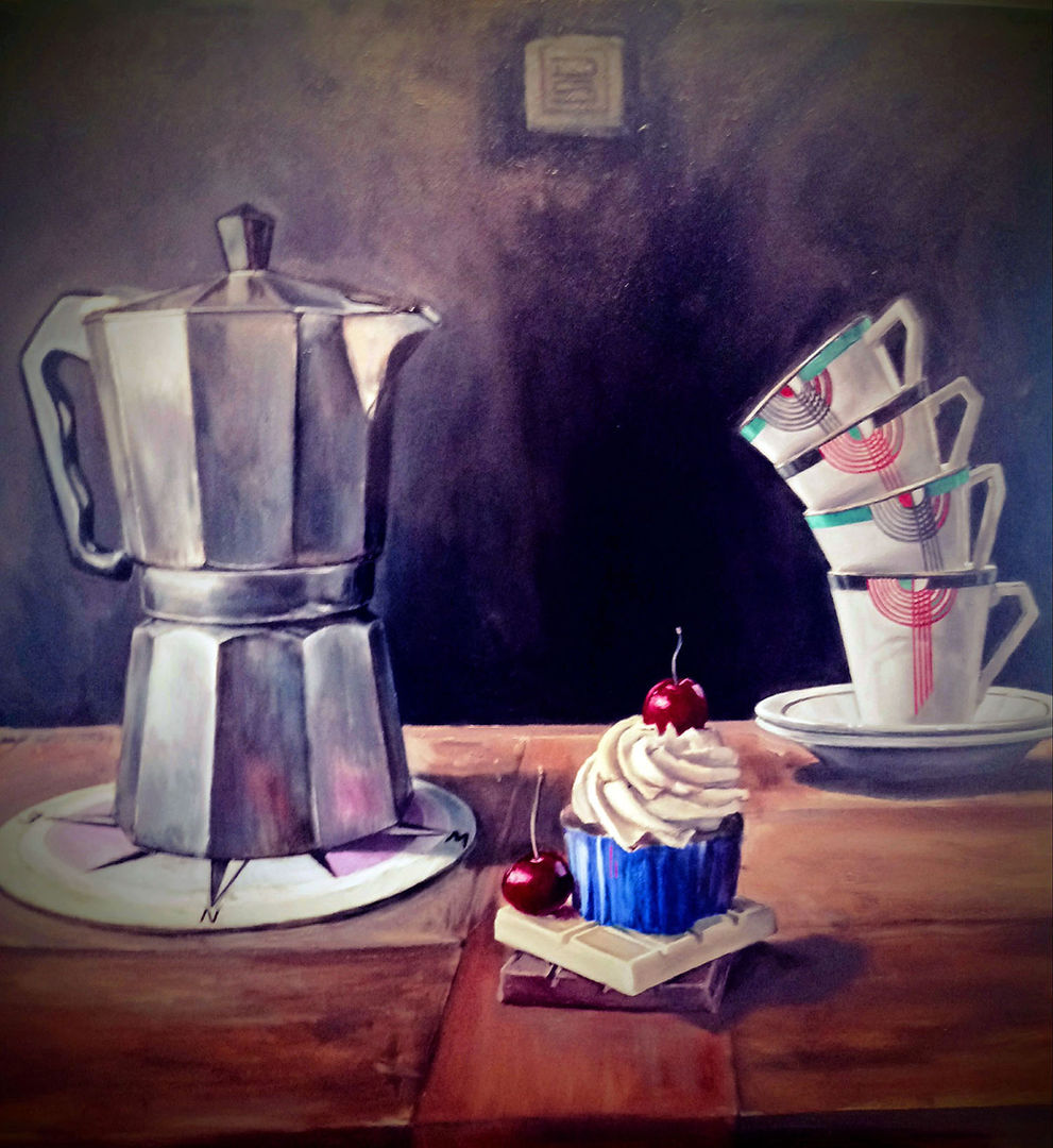 'Coffee, Pot & Tall Stack' Drysdale Scott  Oil on Panel  60x55cm  £1850