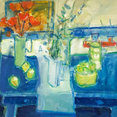 'The Blue Table' Andy Cross Oil on board 46x36cm £900