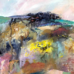 'The Brow of the Hill' Morag Stevenson  Mixed media on board  24 x 24cm  £425