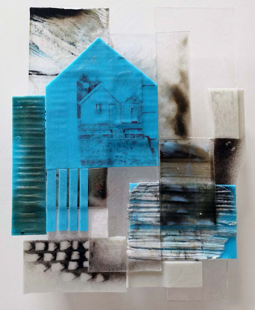 'Zena's Shed' Shelagh Swanson  Kiln formed Glass  49x59cm  *SOLD*