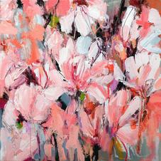 'Magnolia' Kathryn Adamson Mixed Media on canvas 40 x 40cm £650