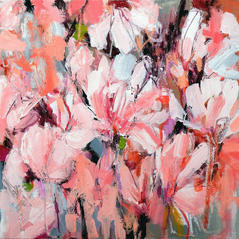 'Magnolia' Kathryn Adamson Mixed Media on canvas 40 x 40cm