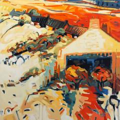 'Catterline' Helen Bruce Oil on canvas   100 x 100cm   £1100