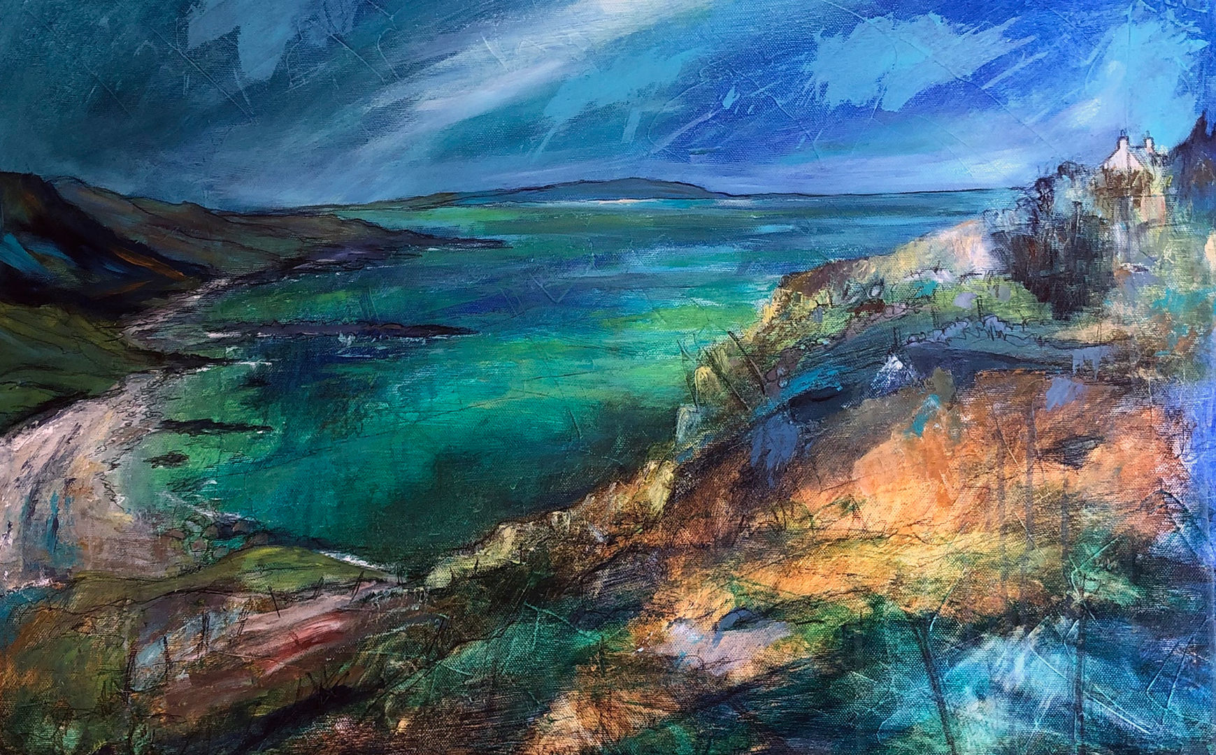'Over Turquoise Waters above a West Coast Shore'  Morag Stevenson Mixed Media  76x51cm  £1250