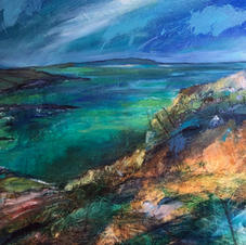 'Over Turquoise Waters above a West Coast Shore' Morag Stevenson Mixed Media  76 x 51cm  £995