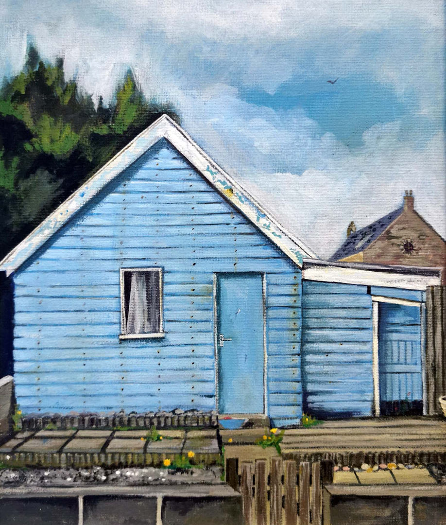'Zena's Shed' Shelagh Swanson   Acrylic on Board  25x30cm  £500