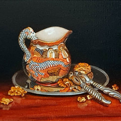'The Satsuma Jug with Walnuts and Silver' Oil on linen board Hilary Gauci   45 x 38cm   £1250
