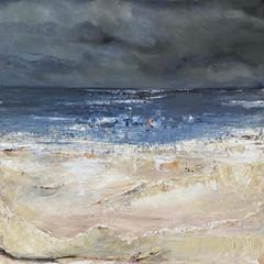 'Coastal Series Stonehaven Beach'   Gundra Nock  Oil on Canvas  81.5 x 81.5cm  £2500