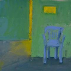 'Blue Chair' Andrea Elles Oil on board 24x24cm £550