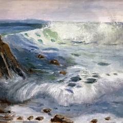 'Wave Study 4'  Hilary Gauci  Oil on linen board  20 x 30cm  *SOLD*