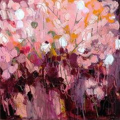 'Silver Pennies II' Kathryn Adamson Mixed Media on canvas 100 x 120cm