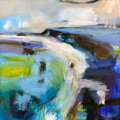 'Blue Bay' Helen Bruce  Oil on board  50 x 50cm   £525