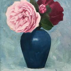 'Roses in a Blue Vase' John Paul Raine Oil on board    30 x 30cm  £1500