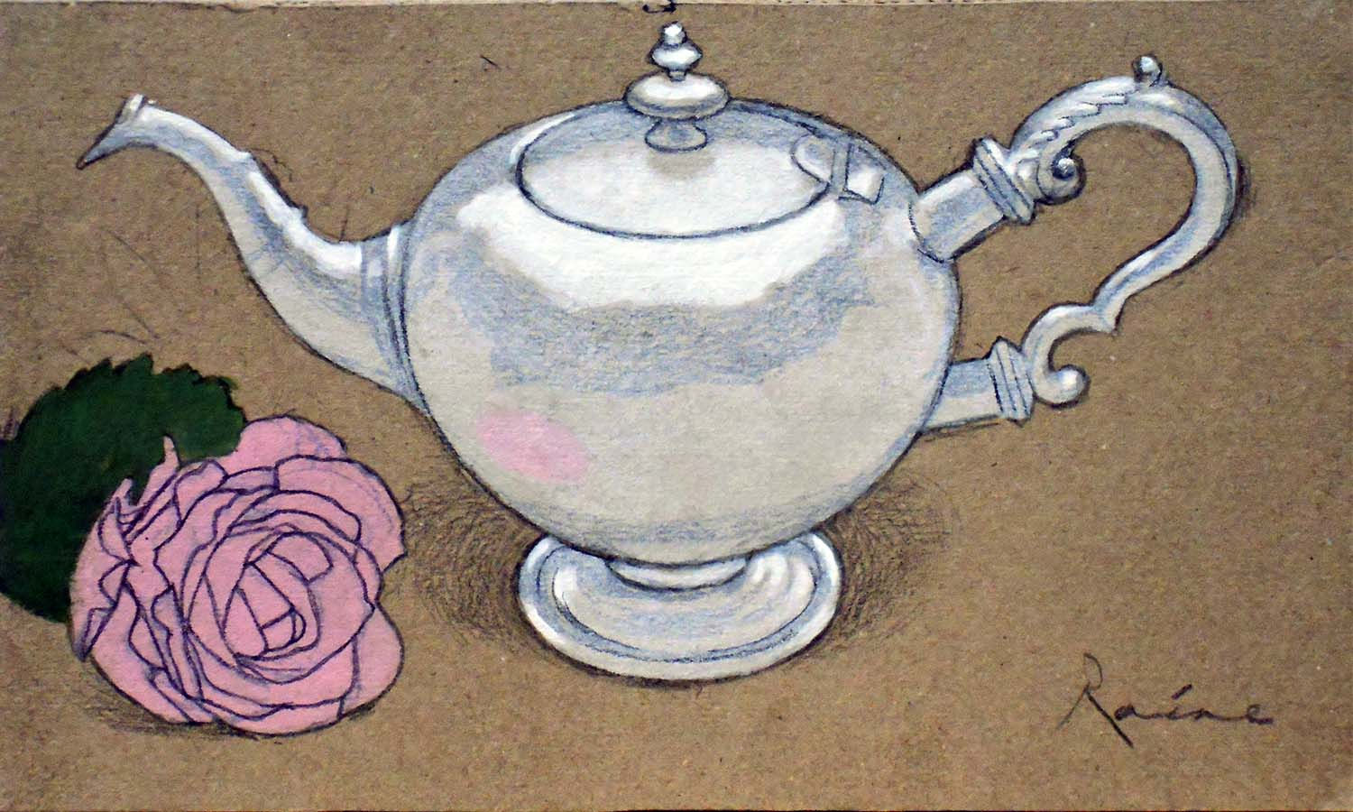 'George Robertson 'Bullet' Teapot 1708' John Paul Raine Pencil and Acrylic on Board  25x15cm  £250
