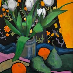 'White Tulips, Oranges and Pears' Bob Black  Acrylic on canvas  42 x 60cm   £1250