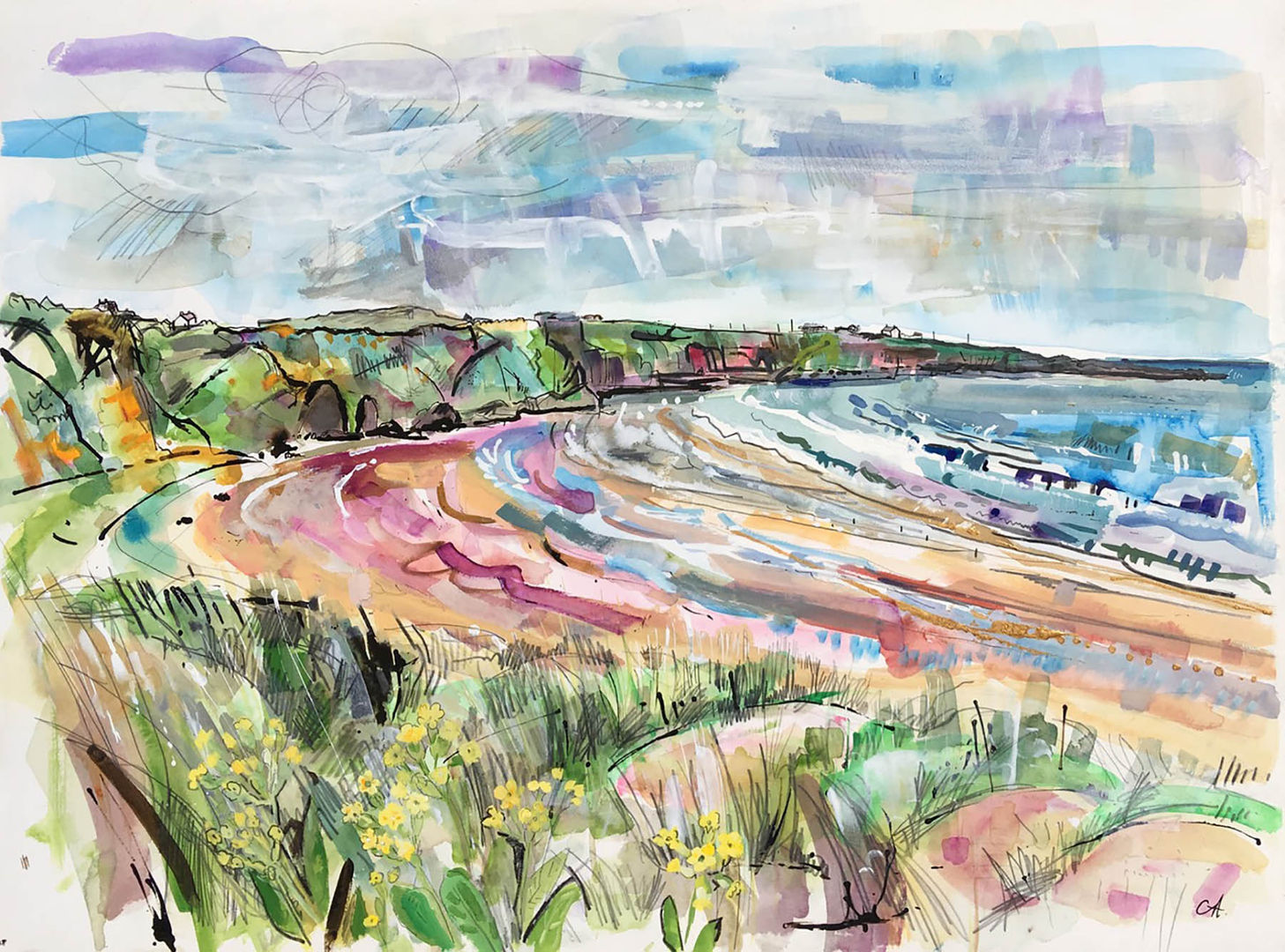 'Cowslips, St Cyrus'  Clare Arbuthnott Mixed Media on Paper 94x76cm £800