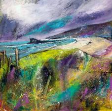 'Oldshoremore's Sweeping Shore'  Morag Stevenson Mixed Media  20 x 20cm   £395