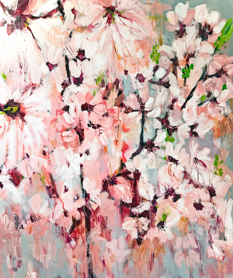 'Magnolia Blossom'  Kathryn Adamson Mixed Media on Canvas 100x120cm £2450