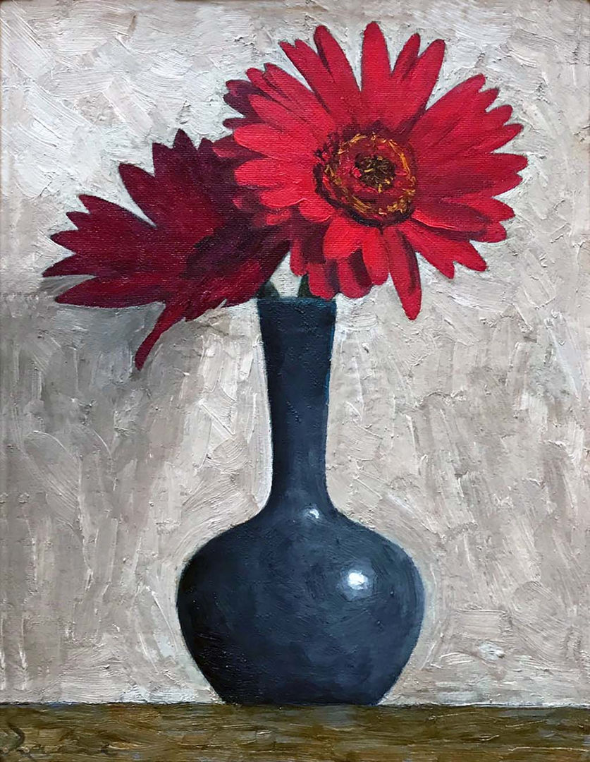 'Two Red Gerberas' John Paul Raine Oil on Panel 22x28cm £750