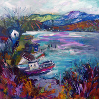 'Waiting Boats, Lochcarron' Anna Malyon Mixed Mdia on Paper 60x60cm £580