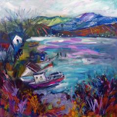 'Waiting Boats, Lochcarron' Anna Malyon Mixed Media 60x60 £580