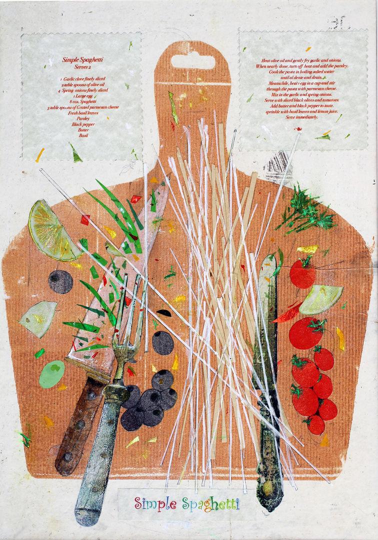 'Spaghetti, A Favourite Meal' John Hall Mixed Media  29x41cm £500