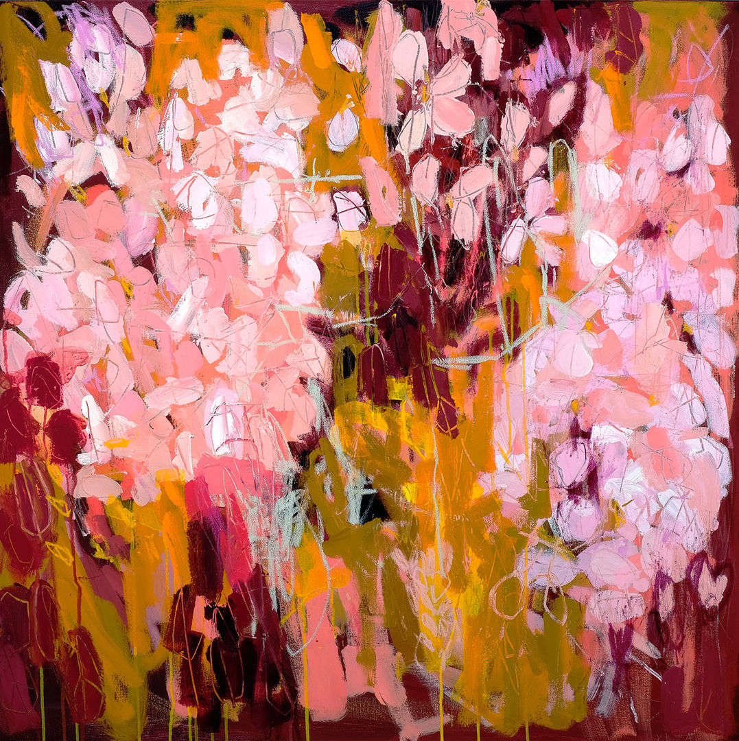 'Pink Petals'  Kathryn Adamson  Mixed Media on Canvas 100x100cm £1995
