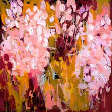 'Pink Petals' Kathryn Adamson Mixed Media on canvas 100 x 100cm £1995